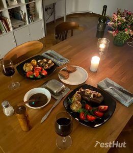 Cooked meal with frying pans