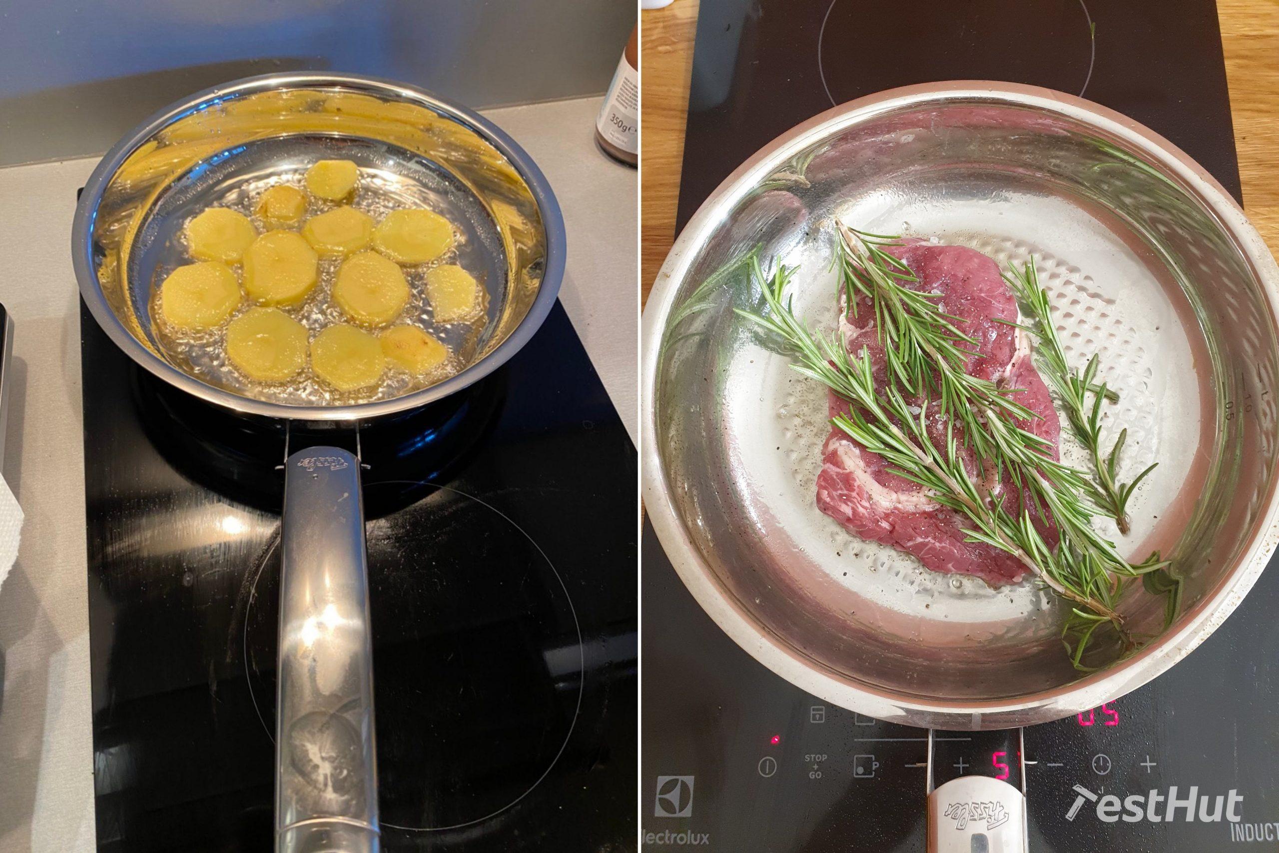 Fissler Crispy Steelux Premium Pan cooking