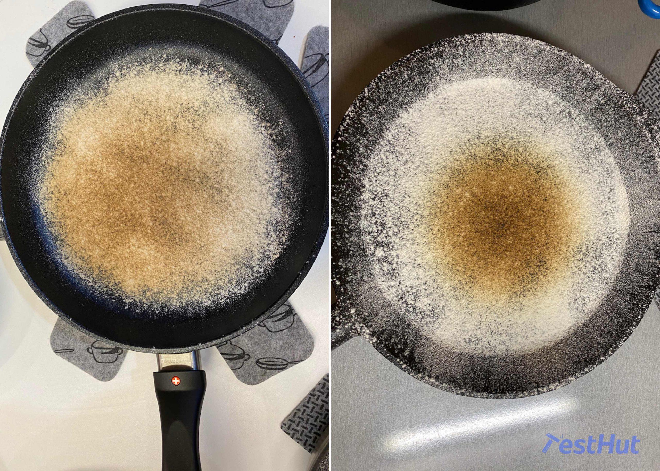 Swiss Diamond XD Induction Frying pan TestHut Flour test